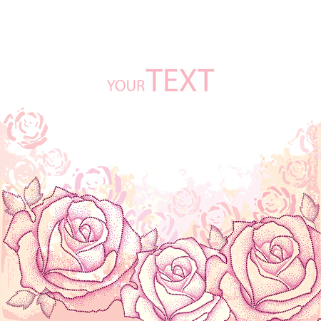 Invitation with three dotted rose and leaves on the textured background with blots in pastel colors. Greeting card with empty place for text. Floral elements in dotwork style. Illustration