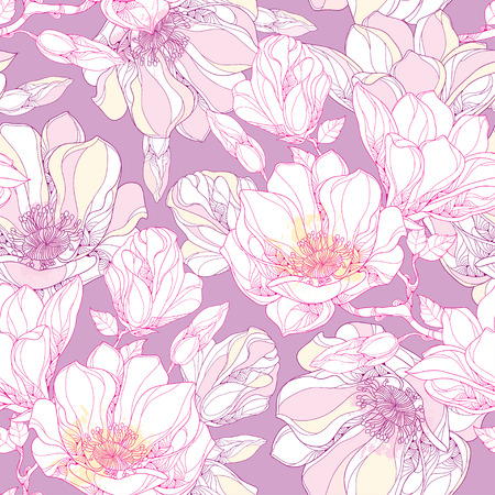 Seamless pattern with ornate magnolia flower, buds and leaves in white on the pastel background. Floral background in contour style.