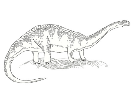 mesozoic: Vector illustration of Apatosaurus or Brontosaur or deseptive lizard isolated on white background. Series of prehistoric dinosaurs. Fossil animals and reptiles in contour style.