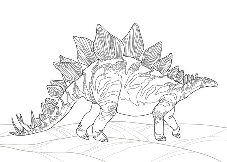 prehistoric animals: Vector illustration of Stegosaurus armatus or covered lizard isolated on white background. Series of prehistoric dinosaurs. Fossil animals and reptiles in contour style.