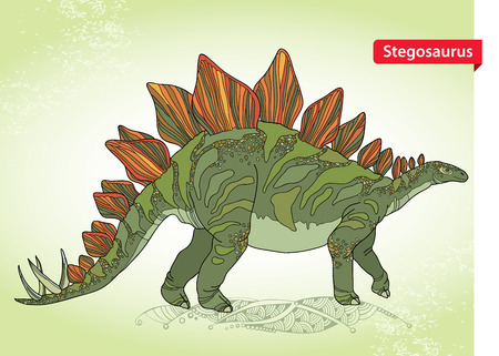 prehistoric animals: Vector illustration of Stegosaurus armatus or covered lizard on the green background. Series of prehistoric dinosaurs. Fossil animals and reptiles in contour style.