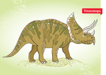 prehistoric animals: Vector illustration of Triceratops from family of large horned dinosaurs on the green background. Series of prehistoric dinosaurs. Fossil animals and reptiles in contour style. Illustration