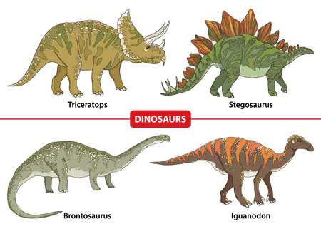 triceratops: Set with Triceratops, Stegosaurus, Brontosaurus and Iguanodon isolated on white background. Series of prehistoric dinosaurs. Fossil animals and reptiles in contour style.