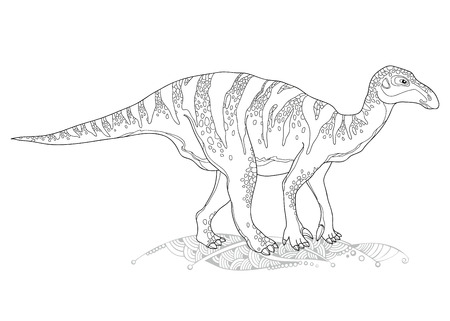 genus: Vector illustration of Iguanodon from genus of ornithopod dinosaur isolated on white background. Series of prehistoric dinosaurs. Fossil animals and reptiles in contour style.