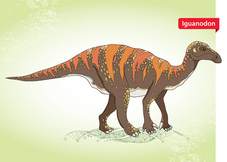 bipedal: Vector illustration of Iguanodon from genus of ornithopod dinosaur on the green background. Series of prehistoric dinosaurs. Fossil animals and reptiles in contour style. Illustration