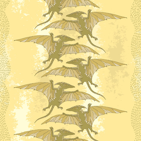 mesozoic: Seamless pattern with Pterodactyl or wing lizard on the textured beige background. Series of prehistoric dinosaurs. Background with fossil animals and reptiles in contour style.