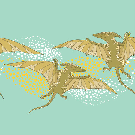 prehistoric animals: Seamless pattern with Pterodactyl or wing lizard from suborders of pterosaurs on the green background. Series of prehistoric dinosaurs. Background with fossil animals and reptiles in contour style. Illustration