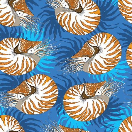 chambered: Seamless pattern with Nautilus Pompilius or chambered nautilus on the blue background with stripes. Marine background in contour style.