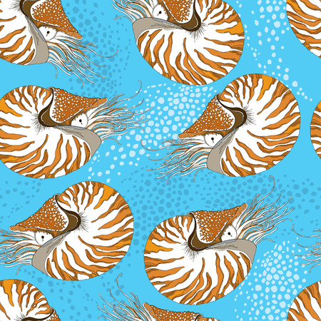 nautilus pompilius: Seamless pattern with Nautilus Pompilius or chambered nautilus on the blue background with bubbles. Marine background in contour style. Illustration
