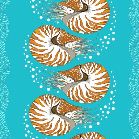 chambered: Seamless pattern with Nautilus Pompilius or chambered nautilus on the turquoise background with bubbles and stripes. Marine background in contour style. Illustration