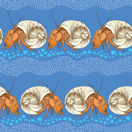hermit: Seamless pattern with Hermit Crab in the round shell on the blue background with striped white waves and blue pebbles. Marine background in contour style.