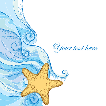 Vector illustration of dotted Starfish or Sea star in orange and blue curly lines isolated on white background. Maritime theme for summer design with empty place for text. Marine elements in dotwork style. 向量圖像
