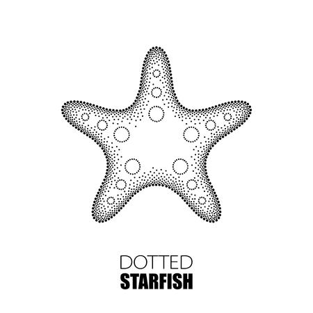 Ilustración del vector de las estrellas de mar de puntos o una estrella de mar en negro sobre fondo blanco. tema marítimo para el diseño de verano. elementos marinos en estilo dotwork. Ilustración de vector