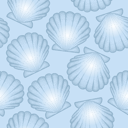 scallop: Vector seamless pattern with dotted Sea shell or Scallop on the blue background. Marine theme. Elegance summer background in dotwork style. Illustration