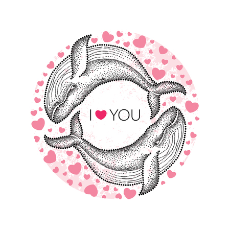 humpback: Vector illustration with two dotted humpback whale in black and decorative round frame with pink hearts isolated on white background. Greeting card for Valentine day. Marine elements in trendy dotwork style. Illustration