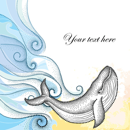 humpback: Vector illustration of dotted humpback whale in black and blue curly lines isolated on white background. Maritime theme with whale and waves for summer design. Marine elements in trendy dotwork style.