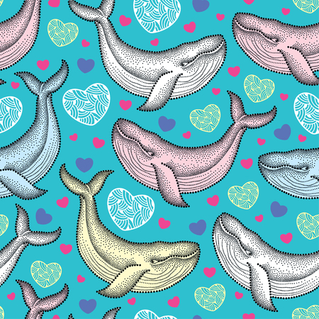 humpback: Vector seamless pattern with dotted humpback whale in pastel colors and hearts on the turquoise background. Maritime summer theme with whales. Background for Valentine day in dotwork style. Illustration