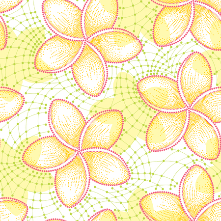 frill: seamless pattern with dotted flower of Plumeria or Frangipani in yellow and decorative green lace on the white background