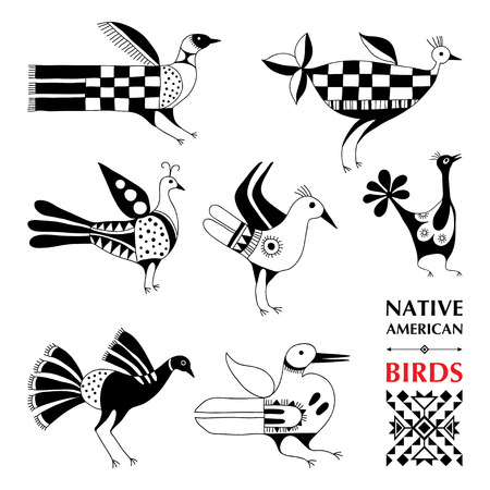 pueblo: collection with Native American schematic birds isolated on white. Ethnic ornament elements. Set of ancient American decor. Tribal elements in contour style for native design. Illustration