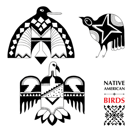 schematic: collection with Native American schematic birds isolated on white. Ethnic ornament elements. Set of ancient American decor. Tribal elements in contour style for native design. Illustration