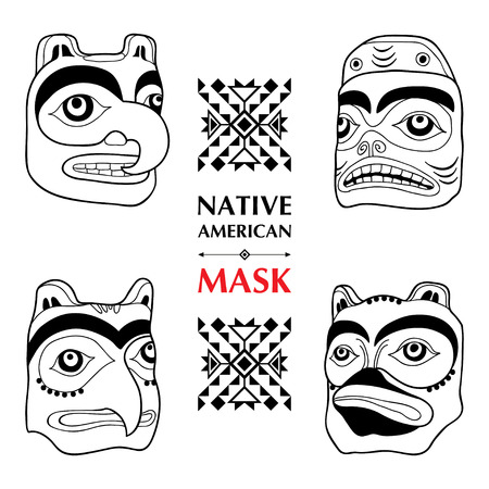 collection with Native American ritual mask isolated on white background. Tlingit ethnic sacred mask. Set of ancient American decor. Tribal elements in contour style for native design.