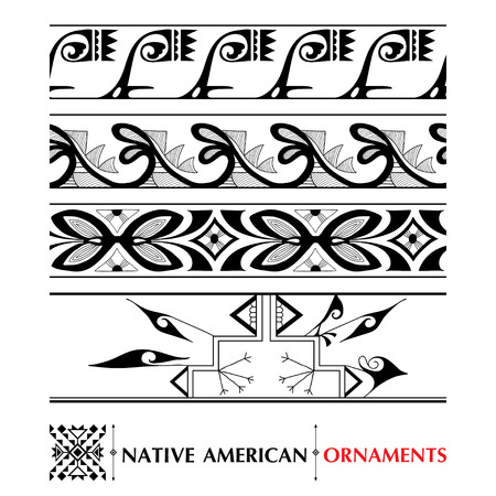 collection with Native American seamless pattern isolated on white background. Ethnic ornaments and borders. Set of ancient American decor. Tribal elements in contour style for native design.  イラスト・ベクター素材
