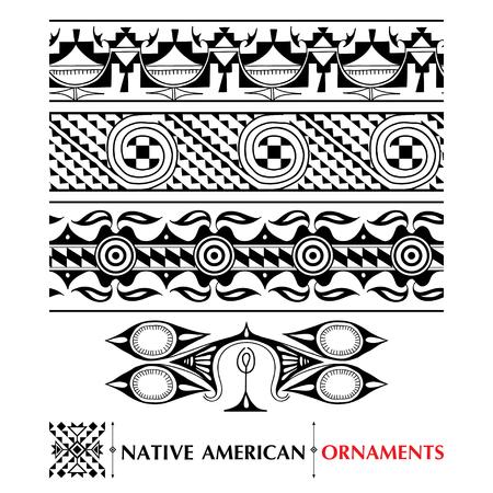 白い背景に分離されたネイティブ アメリカンのシームレスなパターンを持つコレクションです。エスニック雑貨と枠線。古代アメリカ装飾のセット