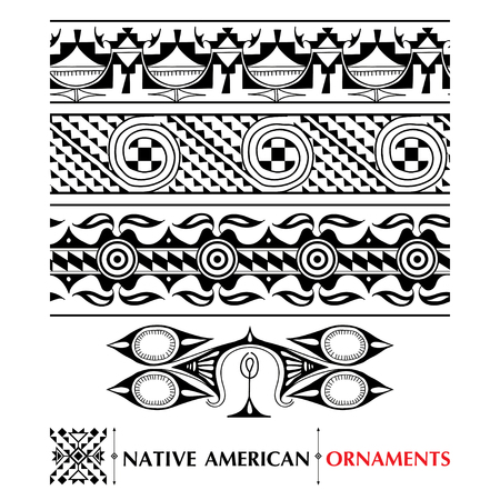 pueblo: collection with Native American seamless pattern isolated on white background. Ethnic ornaments and borders. Set of ancient American decor. Tribal elements in contour style for native design. Illustration