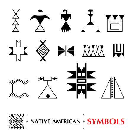 pueblo: collection with Native American symbols isolated on white background. Ethnic ornament elements. Set of ancient American decor. Tribal elements in contour style for native design. Illustration