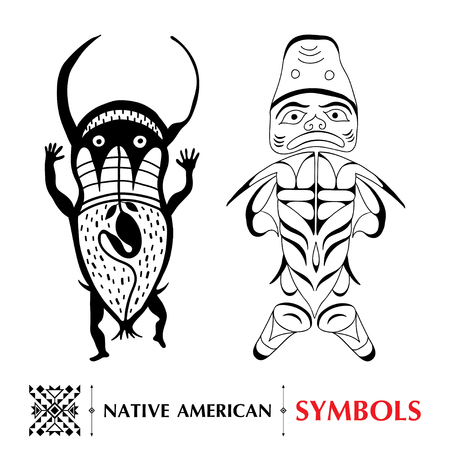 tlingit: collection with Native American schematic human figures isolated on white. Ethnic ornament symbol. Set of ancient American decor. Tribal elements in contour style for native design.