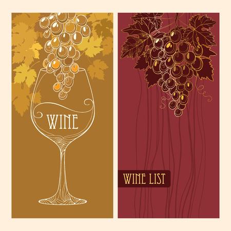 Abdeckung der Weinkarte für Bar und ein Restaurant mit Weintraube, Weinblätter und Weinglas