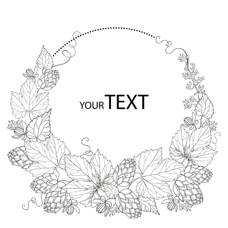 shape silhouette: round wreath with ornate Hops or Humulus. Cones and leaves in black isolated on white. Outline Hops for beer and brewery decor. Organic elements in contour style for coloring book and design.