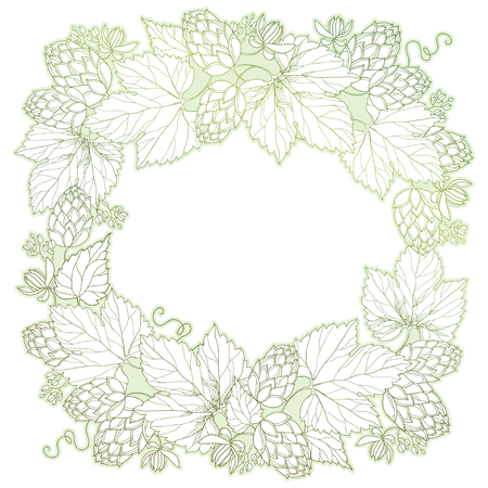 humulus: frame with ornate Hops or Humulus. Cones and leaves in pastel isolated on white. Outline Hops for beer and brewery decor. Herbal elements in contour style for decoration and coloring book. Illustration