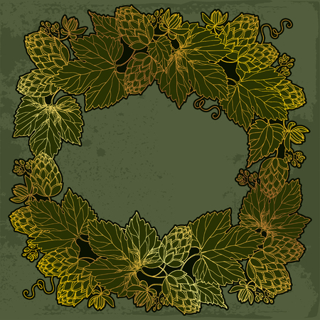 humulus: round frame with ornate Hops or Humulus in gold on the vintage dark background. Outline Hops for beer and brewery decor. Herbal elements in contour style for decoration and beer design. Illustration