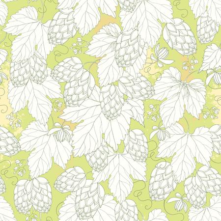 seamless con luppolo decorati con foglie in bianco sullo sfondo pastello. Outline Luppolo per la decorazione birra e birreria. Luppolo sfondo in stile contorno per la progettazione estate.