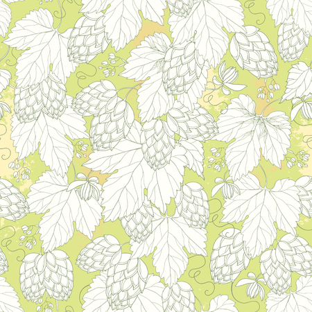 hops: seamless pattern with ornate Hops with leaves in white on the pastel background. Outline Hops for beer and brewery decor. Hops background in contour style for summer design.