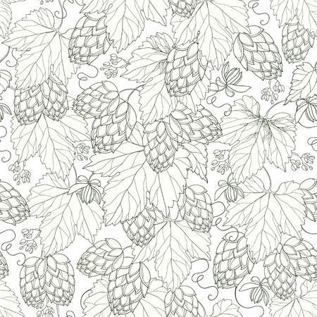 白の背景に黒の葉と華やかなホップのシームレスなパターン。ビールおよびビール醸造所の装飾のためのホップを概説します。夏デザインの輪郭の