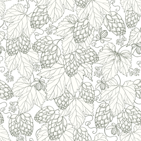seamless pattern with ornate Hops with leaves in black on the white background. Outline Hops for beer and brewery decor. Hops background in contour style for summer design.