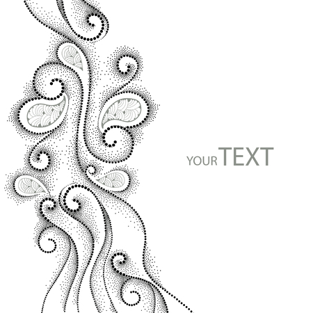 frill: background with dotted swirls and contour decorative lace in black isolated on white. Abstract background with lace and dots. Elegant vertical dotted decor. Design elements in dotwork style. Illustration