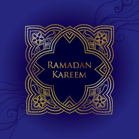 luxo: arabesco pontilhada em ouro no fundo azul com ondas pontilhadas. Fundo luxuoso para o Ramadã no estilo árabe. Ramadan Kareem projeto saudação. decor decorativo islâmico do estilo dotwork. Ilustração