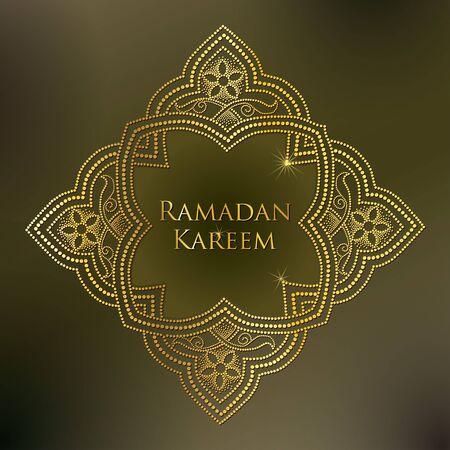 dotted arabesque in gold on the khaki background. Luxury background in Arabic style for Ramadan. Ornamental Islamic decor in dotwork style. Ramadan Kareem greeting design.