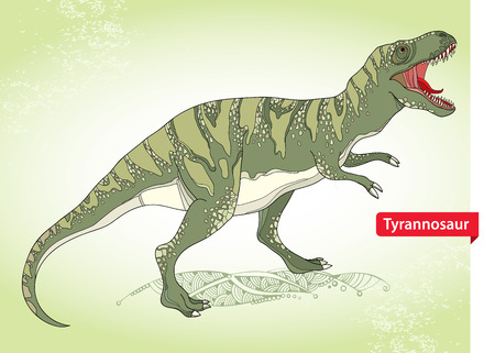 tyrant: illustration of Tyrannosaurus or tyrant lizard or Tyrannosaurus rex on the green background. Series of prehistoric dinosaurs.