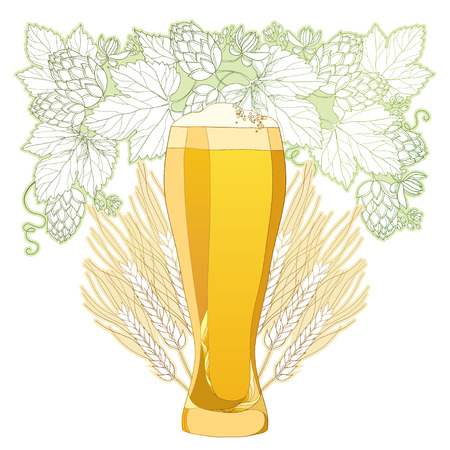 froth: glass of froth beer with ornate wreath of Hops and barley ears isolated on white. Contour hops, barley for Oktoberfest, beer and brewery decor. Beer elements in contour style for brewery design