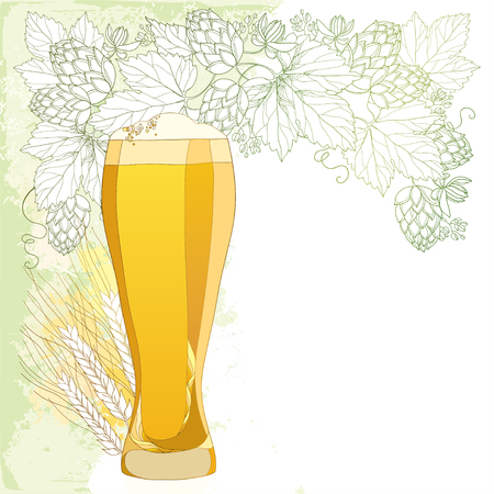froth: glass of froth beer with ornate wreath of Hops and barley ears isolated on white. Contour hops, barley for Oktoberfest, brewery and beer decor. Beer elements in contour style for brewery design
