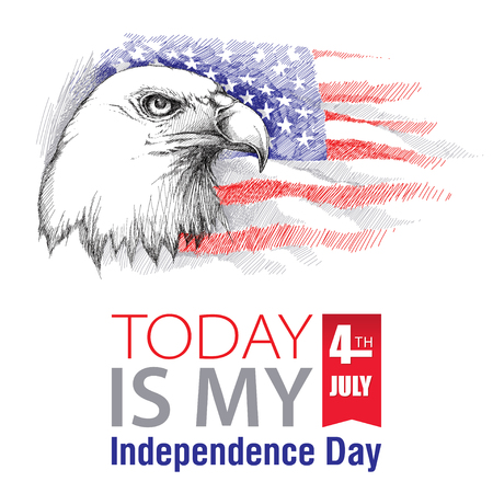 stated: sketch of bald eagle head on the background with American flag isolated. Design for United Stated Independence Day. Background with flag and eagle for July 4. July fourth greeting design.
