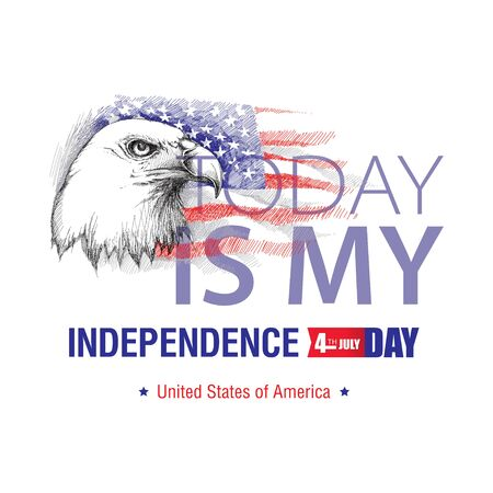 july 4: sketch of bald eagle head on the background with American flag isolated on white. Design for United Stated Independence Day. Background with flag and eagle for July 4. July fourth greeting card Illustration