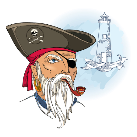 corsair: Vector portrait of bearded pirate face with waves and lighthouse isolated on white. Marine theme with corsair. Pirate head with hat and eye patch. Buccaneer face in contour style for nautical design. Illustration