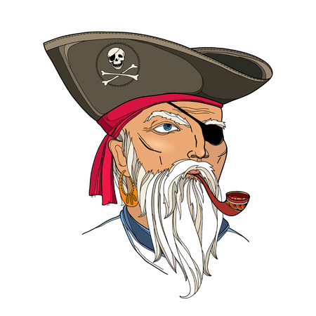 eye patch: Vector portrait of bearded pirate face with ornate tobacco pipe isolated on white. Pirate head with hat and eye patch. Marine theme with corsair. Buccaneer face in contour style for nautical design.