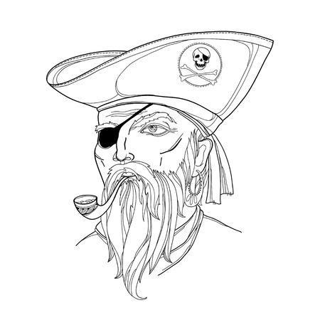 corsair: Vector portrait of bearded pirate face with tobacco pipe isolated on white. Pirate head with hat and eye patch. Marine or nautical theme with corsair. Buccaneer face in contour style for coloring book