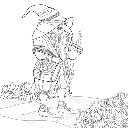 mythological character: Vector mythological line drawing Gnome or Dwarf with tobacco pipe and bag isolated on white. Folklore character. Gnome in contour style for coloring book. Series of mythological creatures. Illustration